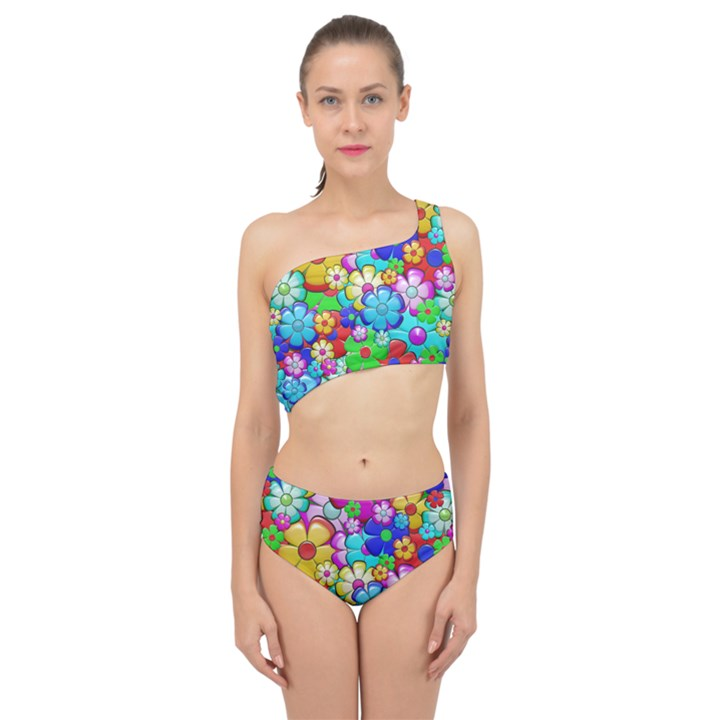 Flower With A Lot Of Power Spliced Up Two Piece Swimsuit