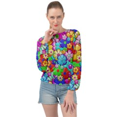 Flower With A Lot Of Power Banded Bottom Chiffon Top by TimelessFashion