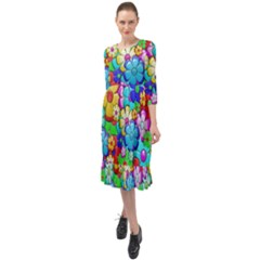 Flower With A Lot Of Power Ruffle End Midi Chiffon Dress by TimelessFashion