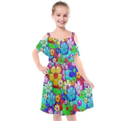 Flower With A Lot Of Power Kids  Cut Out Shoulders Chiffon Dress by TimelessFashion