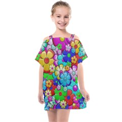 Flower With A Lot Of Power Kids  One Piece Chiffon Dress by TimelessFashion