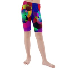 Fractal Artwork Abstract Background Kids  Mid Length Swim Shorts