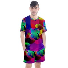 Fractal Artwork Abstract Background Men s Mesh Tee And Shorts Set