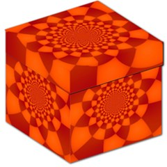 Fractal Artwork Abstract Background Orange Storage Stool 12
