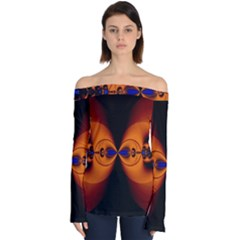 Abstract Artwork Fractal Background Black Orange Off Shoulder Long Sleeve Top