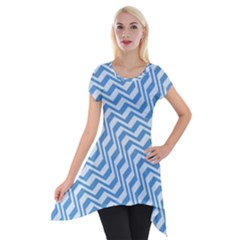 Geometric Blue Shades Diagonal Short Sleeve Side Drop Tunic