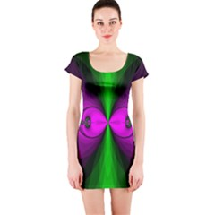 Abstract Artwork Fractal Background Green Purple Short Sleeve Bodycon Dress