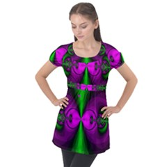 Abstract Artwork Fractal Background Green Purple Puff Sleeve Tunic Top