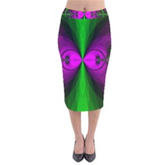 Abstract Artwork Fractal Background Green Purple Velvet Midi Pencil Skirt