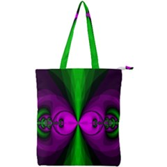 Abstract Artwork Fractal Background Green Purple Double Zip Up Tote Bag