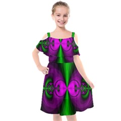 Abstract Artwork Fractal Background Green Purple Kids  Cut Out Shoulders Chiffon Dress by Sudhe