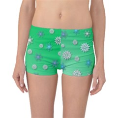 Snowflakes Winter Christmas Green Boyleg Bikini Bottoms