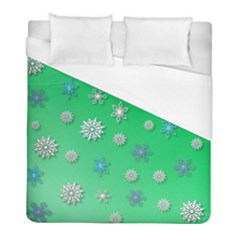 Snowflakes Winter Christmas Green Duvet Cover (full/ Double Size)