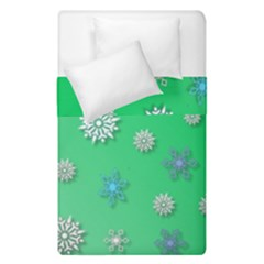 Snowflakes Winter Christmas Green Duvet Cover Double Side (single Size)