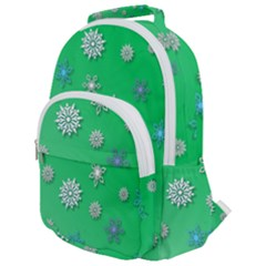 Snowflakes Winter Christmas Green Rounded Multi Pocket Backpack by HermanTelo