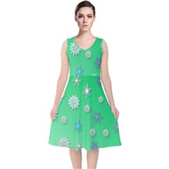 Snowflakes Winter Christmas Green V Neck Midi Sleeveless Dress