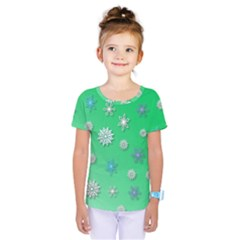 Snowflakes Winter Christmas Green Kids  One Piece Tee