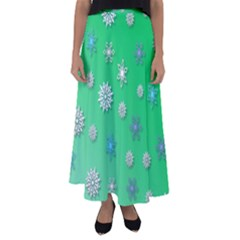 Snowflakes Winter Christmas Green Flared Maxi Skirt