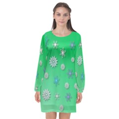 Snowflakes Winter Christmas Green Long Sleeve Chiffon Shift Dress
