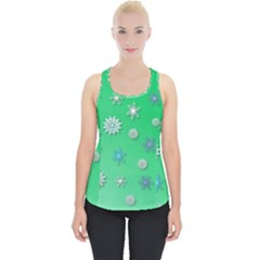 Snowflakes Winter Christmas Green Piece Up Tank Top