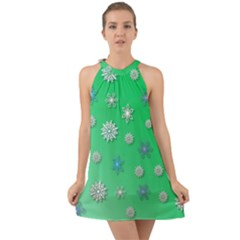 Snowflakes Winter Christmas Green Halter Tie Back Chiffon Dress