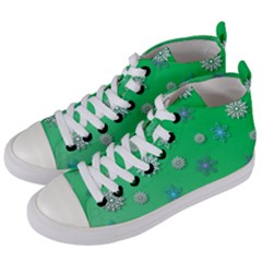Snowflakes Winter Christmas Green Women s Mid-top Canvas Sneakers by HermanTelo