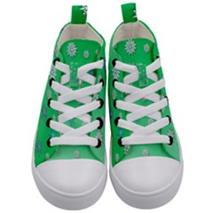 Snowflakes Winter Christmas Green Kids  Mid Top Canvas Sneakers