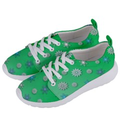 Snowflakes Winter Christmas Green Women s Lightweight Sports Shoes by HermanTelo