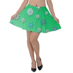 Snowflakes Winter Christmas Green Velvet Skater Skirt by HermanTelo