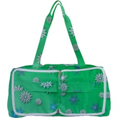 Snowflakes Winter Christmas Green Multi Function Bag