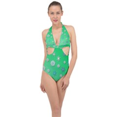 Snowflakes Winter Christmas Green Halter Front Plunge Swimsuit by HermanTelo