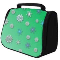 Snowflakes Winter Christmas Green Full Print Travel Pouch (big)