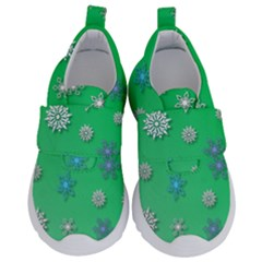 Snowflakes Winter Christmas Green Kids  Velcro No Lace Shoes