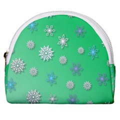 Snowflakes Winter Christmas Green Horseshoe Style Canvas Pouch
