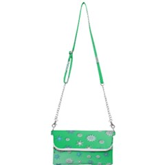 Snowflakes Winter Christmas Green Mini Crossbody Handbag