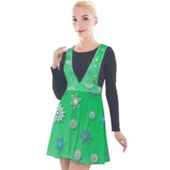 Snowflakes Winter Christmas Green Plunge Pinafore Velour Dress