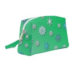 Snowflakes Winter Christmas Green Wristlet Pouch Bag (medium)