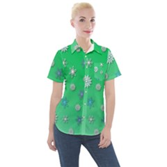 Snowflakes Winter Christmas Green Women s Short Sleeve Pocket Shirt