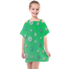 Snowflakes Winter Christmas Green Kids  One Piece Chiffon Dress