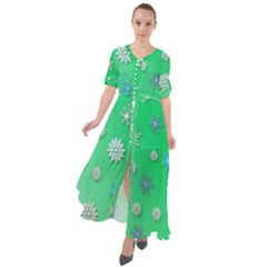 Snowflakes Winter Christmas Green Waist Tie Boho Maxi Dress