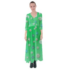 Snowflakes Winter Christmas Green Button Up Maxi Dress