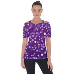 Ross Pattern Square Shoulder Cut Out Short Sleeve Top