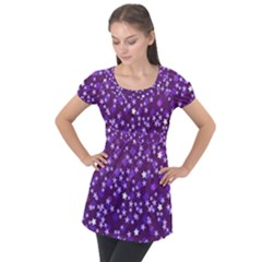 Ross Pattern Square Puff Sleeve Tunic Top
