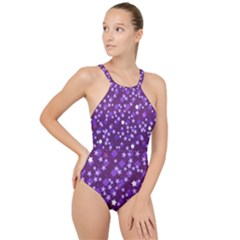 Ross Pattern Square High Neck One Piece Swimsuit
