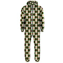 Pattern Flowers White Green Hooded Jumpsuit (men)  by HermanTelo
