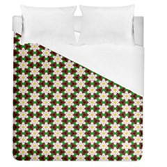 Pattern Flowers White Green Duvet Cover (queen Size)