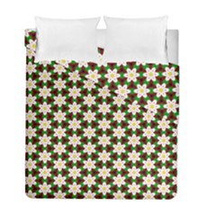 Pattern Flowers White Green Duvet Cover Double Side (full/ Double Size)