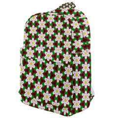 Pattern Flowers White Green Classic Backpack