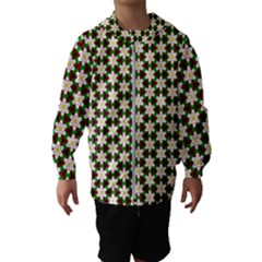 Pattern Flowers White Green Kids  Hooded Windbreaker