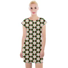 Pattern Flowers White Green Cap Sleeve Bodycon Dress